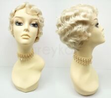 Finger Waves Gatsby Flapper Pixie Wig Heat Resistant Blonde 1920s Short Marcel