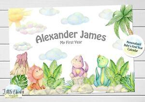 First year baby calendar keepsake, Dinosaur First Year Calendar with Milestones