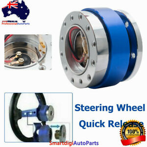 Blue Universal Car Steering Wheel Quick Release Hub Adapter Snap Off Boss Kit