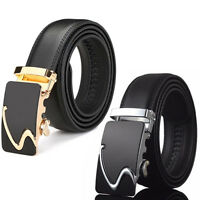 Fashion Men Genuine Leather Ratchet Belt Automatic Buckle Waist Strap Waistband