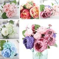 Artificial Rose Peony Silk Flowers Leaf Bouquet Home Floral Wedding Garden US