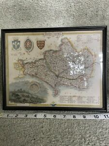 Antique re-print coloured map Dorset County / Dorsetshire Simply framed