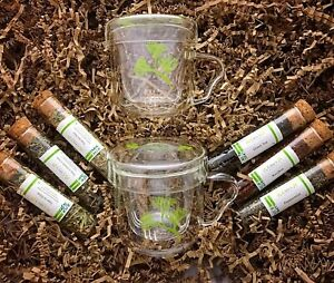 Tea Lovers Gift Set 2 infusion cups & 6 glass tubes of organic herbal teas.