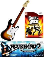 NEW Nintendo Wii Rock Band 2 Wireless Sunburst Guitar & G Hero World Tour RARE
