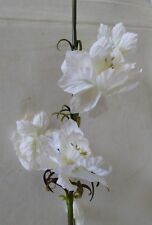 """Pack of 3 - 38"""" Soft White Delphinium Silk Flower Stems - bendable & wired"""