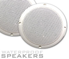 "White Gloss Speakers 80W 5"" 8 Ohm 1 pair + Cable UV Proof For Home or Marine use"
