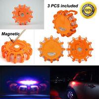 3Pcs Road Flare Flashing Emergency Signal Warning LED Light Beacon Amber