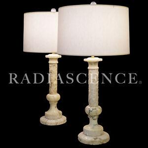 XXL CLASSIC HOLLYWOOD REGENCY BRUTAL MODERN MARBLE CORINTHIAN COLUMN TABLE lamps