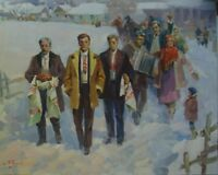 ORIGINAL OIL CANVAS PAINTING IMPRESSIONISM UKRAINE WINTER GENRE PORTRAIT REALISM