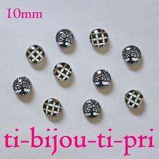 LOT de 10 CABOCHONS en VERRE NOIR et BLANC 2 MOTIFS ronds 10mm perles bijoux