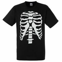 Mens Black Skeleton Rib Cage T-Shirt Halloween Human Anatomy Top