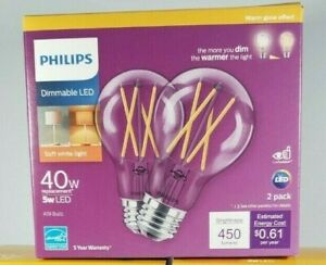 Philips 40 Watt Box of 2 Bulbs A19 Dimmable Warm Dimming Effect Clear Glass LED