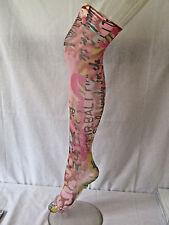 Flirt Pink BALI Floral Over Knee Holdup Stockings Socks