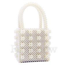 Vintage Ladies Pearl Handbag Beadeds Bags Weave Crystal Flower Clutch Bag It Bag