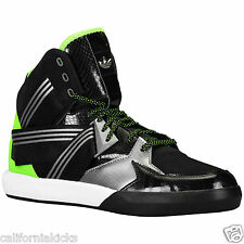 ADIDAS Originals C-10 Basketball Shoes sz 10.5 Green Patent Black Silver Nubuck