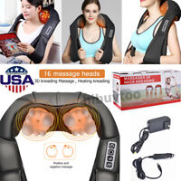 Electric Neck Back Shoulder Massager Shiatsu Heating Kneading Pain Relief Shawl