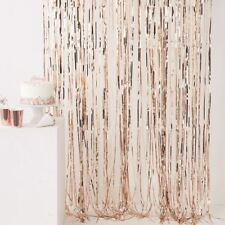 Rose Gold Fringe Foil Curtain Wall Door Backdrop Party Venue Decoration