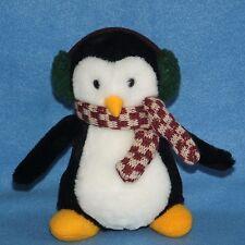 "Small 6"" Hugsy Penguin McFinn Plush Scarf Ear Muffs Mervyns Debbie Mumm"