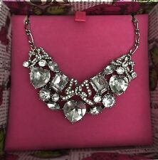 Betsey Johnson NEW In BOX Necklace Bow Statement Swarovski Stones Silver138
