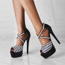 Women Cross Strappy High Heels Striped Stilettos Peep Toe Sandals Platform Shoes