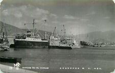 Real Photo Postcard Boats at the Dock Barcos en El Muelle Ensenada BC Mexico