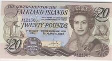 FALKLANDS ISLANDS NOTE 20 POUNDS 1984 PICK 15 UNC