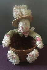Vintage Easter Bunny Plush With Attached Small Basket 7�h X 6� Round