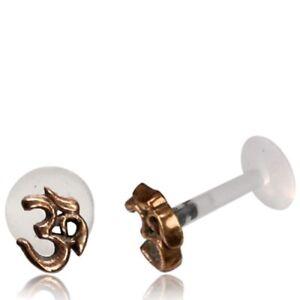 LABRET TRAGUS EAR RING OM SYMBOL 16G OR 18G LIP NOSE RING EARRINGS BIOPLAST STUD