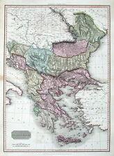 Turquía, Grecia, Croacia, Bosnia, Bulgaria Etc Pinkerton Original Antiguo mapa 1814