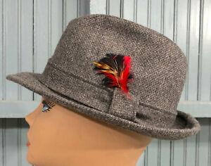 Vintage Gray 100% Wool Made in USA Mens 7 1/8 Tweed Fedora Hat Cap