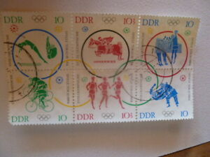 1964  OLYMPICS GERMAN BLOCK OF 6 STAMPS   USED VOLLEYBALL  ETC