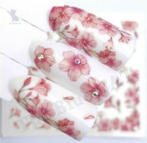 Nail Art Water Decals Transfers Stickers Dusty Pink Flowers Floral Petals
