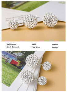Genuine NEW-925 STERLING SILVER DOUBLE SHAMBALLA CRYSTAL BALL STUD EARRINGS