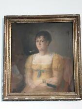Ecole Française début XIXe Empire - Portrait demi-longeur de Femme - Pastel