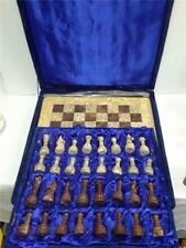 """Vintage Marble Chess Set 14""""x14"""" Inlaid Board *Carved Pieces* Beautiful Heavy"""