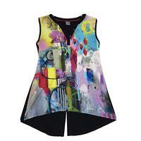 Dolcezza Simply Art Sleeveless Tunic Top Sz M Back Button Slit V Neck Mandarin
