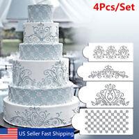 4Pcs Lace Flower Crown Border Fondant Cake Stencil Baking Tool Side Decor Mould