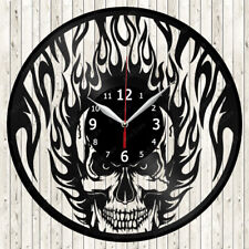 Skull Vinyl Record Wall Clock Decor Handmade 1791