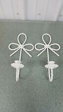 Set Of 2 Home Interior Twisted Metal White Rope Wall sconce Candle Holders