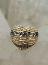 Designer 10K Yellow Gold & .56tw Chocolate Diamond Size 7 Heart Ring!