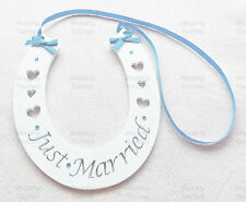 Just Married Wedding Handmade Wood Horseshoe Hanging with Light Blue Decoration