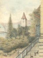1886 Watercolour - Ouchy, Lausanne