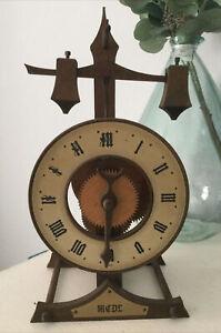 Buco Swiss Baumann Wooden Skeleton  Clock