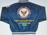 """USS CHEVALIER  DD-805  NAVY ANCHOR """" EMBROIDERED 2-SIDED SATIN JACKET"""
