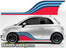 Fiat 500 side racing stripes 057 Martini style decals vinyl graphics stickers