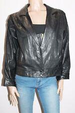 BOLERO Designer Retro Black Leather Long Sleeve Zip Front Jacket Size L #SJ09