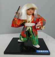 Kyugetsu Yamaha Traditional Dress Doll - Porcelain faces w/ Glass Eyes W Fan