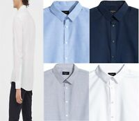 Mens Long Sleeve Formal Shirt White Blue Grey Navy Office Work Slim Fit Tops