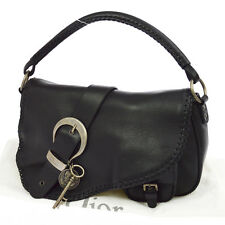 Authentic Christian Dior Gaucho Saddle Shoulder Bag Black Leather Italy RK12144