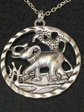 "Elephant Large Circle Charm Tibetan Silver 18"" Necklace BIN"